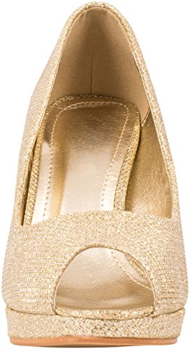 Hochzeit Peep High Stiletto Gold Damen Heels Elara Glitzer Plateau toe Pumps x4Yz6
