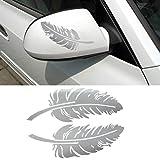 Stickers, Kolylong Autocollant Feather 3D Design DéCoration Pour Voitures Side Mirror Rearview Pour Audi A3, BMW Et Toutes Sortes De Voitures (Blanc)