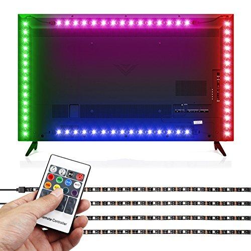 Albrillo RGB LED Hintergrundbeleuchtung für Fernseher mit Fernbedienung und 16 Farben, 120° Abstrahlwinkel, 4×50cm