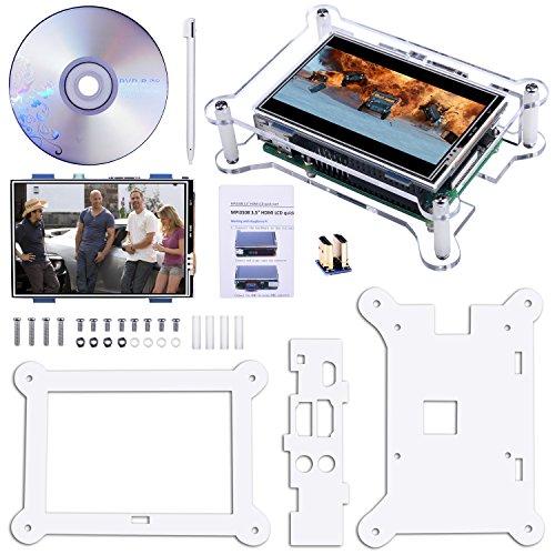 Ecran tactile TFT, Montieur d'écran LCD TFT Kuman 3.5 pouces avec support étui de protection tout système Raspberry PI, Video Movie Play, jeu d'arcade, Entrée audio HDMI (3.5HDMI LCD + Etui) SC6AC