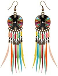 Bold N Elegant Latest Fusion Collection Silver Plated Oil Painted Multicolor Bead and Feather Embellished Tribal Style with Modern Sentiments Long Tassel Drop Partywear Dangle Earrings