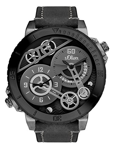 s.Oliver Time Herren Skeleton Quarz Uhr mit Leder Armband SO-3369-LQ