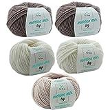 Merinowolle * Wolleset Latte Macchiato S * 5 Knäuel bunte Wolle Merino Mix big – dicke Wolle – Wollpaket + GRATIS MyOma Label – Merinowolle stricken – Nadelstärke 6-7mm – Lauflänge 50g=75m – Wolleset