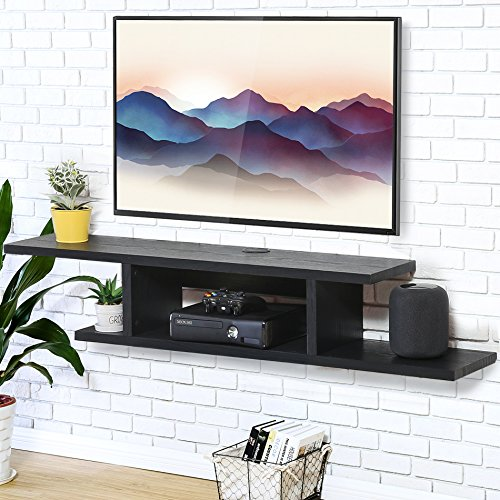 FITUEYES TV Board Lowboard Hängeschrank Fernsehschrank Mediawand Wandschrank Holz Schwarz DS211801WB