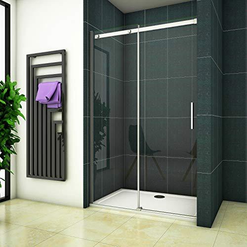 130x195 Dusche Duschabtrennung Duschwand Schiebetür Nischentür 6mm Klarglas ohne Duschtasse