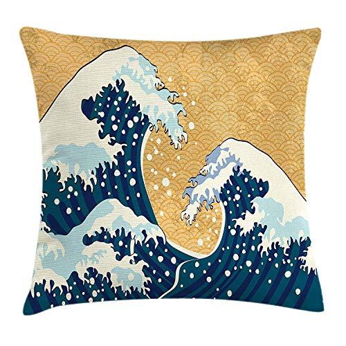 DDOBY Japanische Welle Dekokissen Kissenbezug, Seesturm in Japan Traditionelle Zeichnung Schäumende große Wellen, dekorativer quadratischer Akzent-Kissenbezug, Erde gelb dunkelblau weiß - Traditionelle Akzente