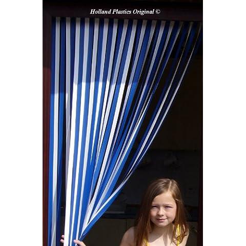 Caravana/cortina de puerta, cortina de color azul y blanco- 62cm de ancho. Perfecto para caravanas y casas