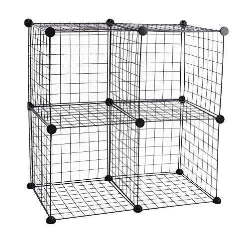 PrimeMatik - Armario Organizador Modular Estanterías de 4 Cubos de 35x35cm Metal Negro