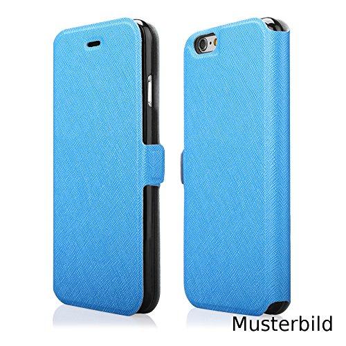 EGO® Kunstleder Flip Case SOFT für iPhone 4 4S, Blau mit Kreditkarten fächer Book Style Wallet Schutz Hülle Handy Cover Book Tasche Schale Etui Blau