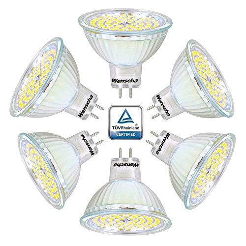 Wenscha spot de plafond MR16 6pc 5W LED ampoule 4000K GU5.3, AC / DC 12V, 400LM lampe Spot remplace Les Ampoule Halogène 40W angle d'éclairage 120° 60 x 2835 SMD [classe énergétique A ++] (blanc neutre)