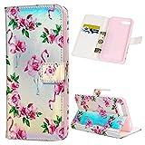 iAdvantec Huawei Honor 10 Hülle, Filp PU Leder Case Wallet Handyhülle Flipcase : Bookstyle Bunt Gemalt Tasche Schutzhülle in Flamingoblume