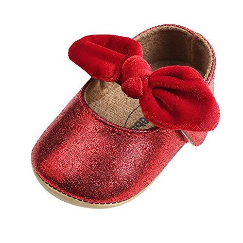 LACOFIA Baby Mädchen Ballerina Kleinkind Bowknot Prinzessin Schuhe Baby Rutschfeste Krabbelschuhe Rot 12-18 Monate (Kleinkind Outfit Ballerina)