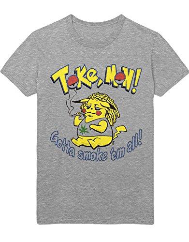 T-Shirt Poke Go Toke Mon Gotta Smoke 'em All Trainer Triforce Heiligtümer Harry Kanto Official Gym Leader X Y Blue Red Yellow Plus Hype Nerd Game C123131 Grau XL