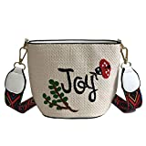 FJTHY Autunno, borsa femminile, fresca, semplice, Mori, fata, crossbody, paglia, borsa da spiaggia,bianca,Le foglie