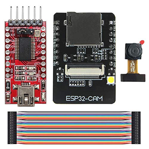 KeeYees WiFi + Bluetooth Modul Kit 4M PSRAM ESP32-CAM Dual-Core 32 Bit CPU Entwicklungsboard + OV2640 2MP Kameramodul + FTDI Adapter FT232RL USB zu TTL Serial + 40 pin Jumper Wire Bluetooth Wire