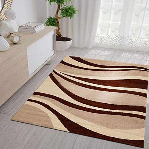 VIMODA Salon Tapis à Poils Ras Moderne Vagues Motif Marron Beige Couloir  Tapis Moderne, Très Facile - Marron, 160 x 230cm