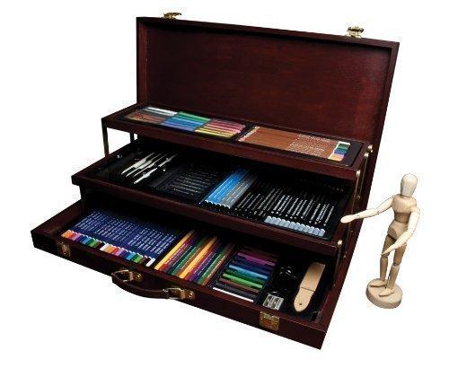 Royal Langnickel Künstler Farben Acryl Wasserfarbe Öl Malen Skizzen Zeichnen Kunst Farben Box Schatulle Set 80 oder 134 Teile - 134 Teile
