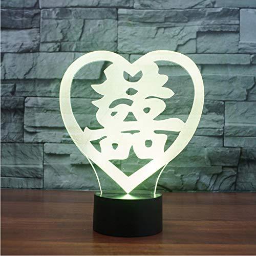 Chambre à coucher USB éclairage de sommeil 3D LED en forme de cœur Double bonheur NightLight 7 couleur de table à langer lampe Chinese Marry Decor cadeaux