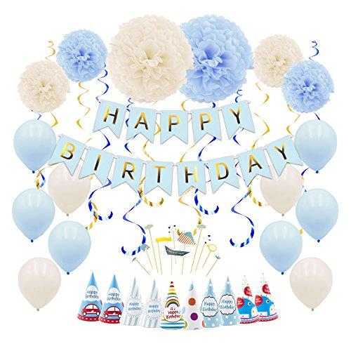 49pcs Geburtstag Dekoration für Jungen Party Dekorationen für Männer mit Tissue Blume, Ballon, alles Gute zum Geburtstag Banner, hängende wirbelt, Papier Hut, Kuchen Flagge, Band (blau)