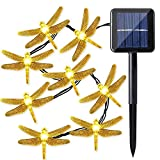 Quace Solar String Lights 6m/20ft 30 LED Water-Resistant Lights Festival Decoration Dragon Fly Design String Lights for Indoor Outdoor Bedroom Patio Lawn Garden Wedding Party Decorations - Warm White