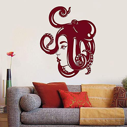 yiyitop Asiatische Mädchen Gesicht Sea Octopus Auf Dem Kopf Vinyl Wandtattoo Wohnkultur Schlafzimmer Kunstwand Wandaufkleber 57 * 45 cm