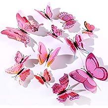 12 Piezas Mariposa Pegatinas De Pared Etiquetas Engomadas,3D Mariposas Decorativos Adhesivos Murales Para Niños