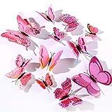 12 Pezzi Farfalle Adesivi Murali,3D Adesivi Murali da Parete per Casa,Camera dei Bambini e Stanza delle Ragazze (Rosa)