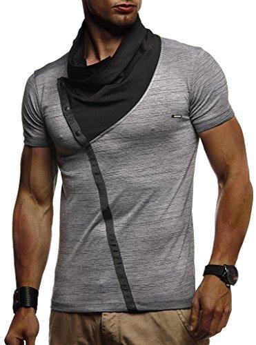Leif Nelson Herren Sommer T-Shirt Stehkragen Slim Fit Casual Baumwolle-Anteil Cooles weißes schwarzes Männer Kurzarm-T-Shirt Hoodie-Sweatshirt-Longsleeve lang LN1020 Anthrazit Medium