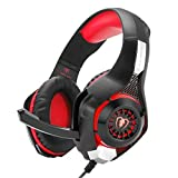 Gaming Headset Kopfhörer, GM-1 3.5mm Surround Sound Kopfhörer für PS4 PC Xbox One Laptop Tablet Mobile Phones(Schwarz & Rot)