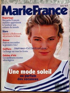 MARIE FRANCE [No 411] du 01/05/1990 - DES PETITS FRANCAIS MALADES APPRENNENT LE BONHEUR AUX ENFANTS DU MONDE - LE SEXE A HOLLYWOOD - COIFFURE - CUISINE D'ETE - PARFUM DE VACANCES. par Collectif