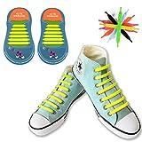 [12 Pezzi] No Tie Lacci per Scarpe, Canwn Silicone Elastico Piatto Laces per Bambini Impermeabile Athletic Scarpa da Corsa con Multicolore per Scarpe Sneakerboots Bordo e Scarpe Casual(Giallo)