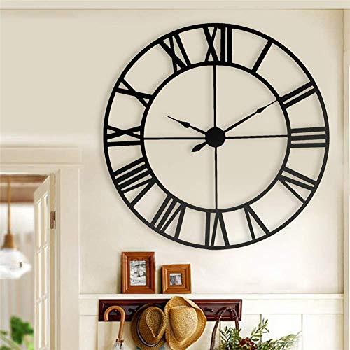 Wanduhr Wall Clocks 80 cm Moderne 3D Große Retro Schwarz Eisen Kunst Hohl Wanduhr Römischen Ziffern Wohnkultur - Eisen Kunst