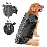 IREENUO Wasserdicht Pet Hunde Regenmantel Jacke Hund reflektierender Night Sicherheit Jacke Hoodies Pullover Fleece gefüttert für Wärme Brustschutz (Schwarz,3XL)