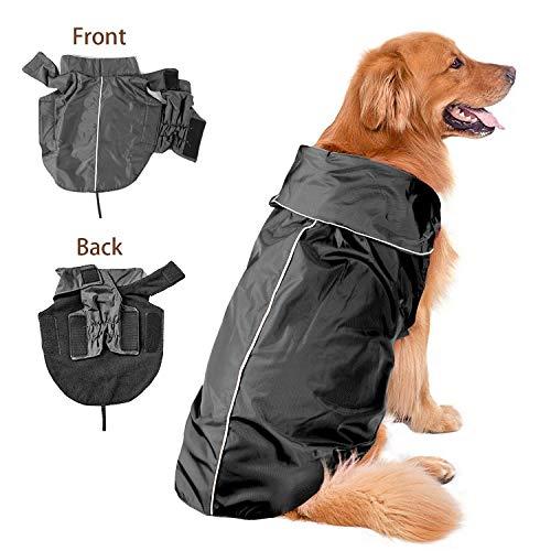 Wasserdicht Pet Hunde Regenmantel Jacke Hund reflektierender Night Sicherheit Jacke Hoodies Pullover Fleece gefüttert für Wärme Brustschutz (Schwarz,XL) -