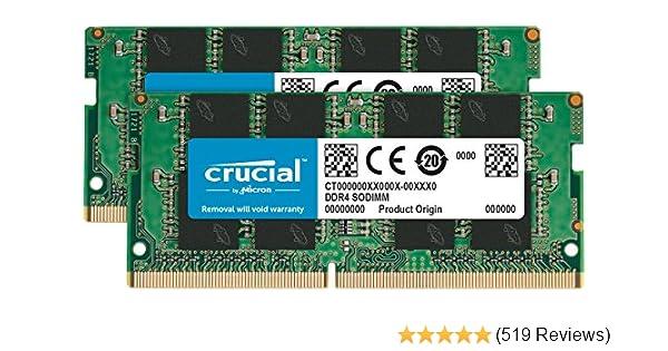 Crucial CT2K16G4SFD8266 32GB (16GB x2) Speicher Kit (DDR4, 2666 MT/s, PC4-21300, Dual Rank x8, SODIMM, 260-Pin)