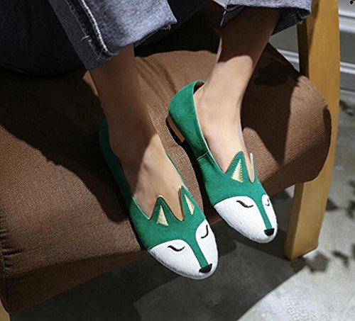 OL mocassini piatto a forma di mandorla a forma di Peep Toe Fox Pattern scarpe antisdrucciolevoli delle scarpe da donna UE taglia 34-39 Green