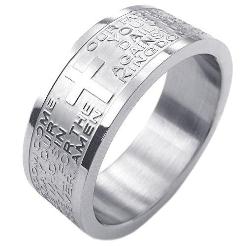 KONOV Schmuck Herren-Ring, Damen-Ring, Edelstahl, Bibel Gebet Kreuz, Silber - Gr. 74