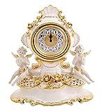 Raffinato Orologio Barocco In Ceramica Con Angeli In Porcellana Bianco E Oro Con Fiori Realizzati A Mano E Cristalli Made In Italy
