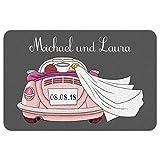 Geschenke 24 Fußmatte zur Hochzeit mit Automotiv in Rosa: Fußabtreter mit Namen von Braut und Bräutigam + Hochzeitsdatum personalisiert