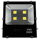 200 Watt LED Fluter Super Hell 20000LM Strahler Wasserdicht IP65 Warmweiß 3000-3500K Scheinwerfer Außenstrahler für Garten Hof Dock