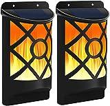 2 Stück Solarlampen für Außen, LED Solarleuchte Außen, 2200mAh IP65 Wasserdicht Solar Beleuchtung Flackerlicht Solarlicht Solarleuchten Garten Wandleuchte Sicherheitswandleuchte [Energieklasse A++]