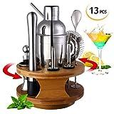 LANSEYQO - Juego de mezcladores para cócteles con base de bambú giratoria, juego de batidores de acero inoxidable profesional para barra de cocina en casa, 13 unidades 13 Pcs