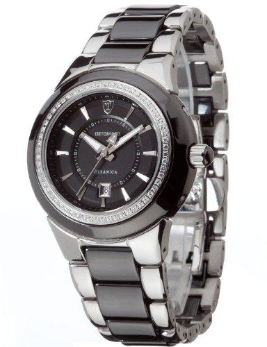 Detomaso CARMELA Black DT3011-B Ladies DT3011-B – Reloj analógico de cuarzo para mujer, correa de cerámica multicolor (agujas luminiscentes)