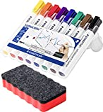 Staedtler 351 WP8 Lumocolor Whiteboardmarker, 8 Stück in aufstellbarer Staedtler Box, farblich sortiert im Bonus Pack mit Whiteboardlöscher (8er Marker Set + Löscher, rot)