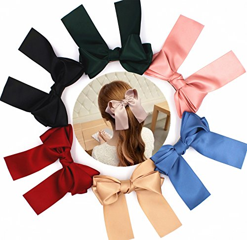 """6 Pcs 21,08 cm (8,3"""") Big Huge Oversize, Silky Hair Bows a Lolita Party Girl-French Barrette Hair Clip"""