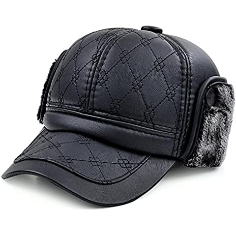 WE&ZHE Men's Men's Ski Cap with Faux fur inside Peaked cap Leather protect ear The wide brim Dome Adjustable Leisure warm winter outdoors Black