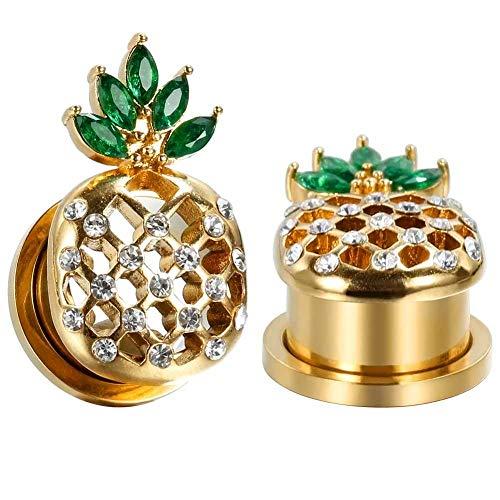 Cooper Chirurgenstahl Ear Gauges Cool Ananas Tunnel und Stecker Piercing Elegante Stretchers Goldene Ohrringe Größe 2g (6mm) bis 5/8 Zoll (16mm)