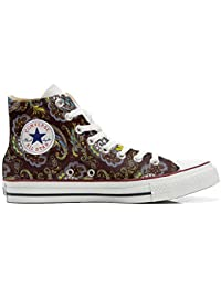 Converse All Star Customized, Sneaker Unisex, printed Italian style Brown Paisley