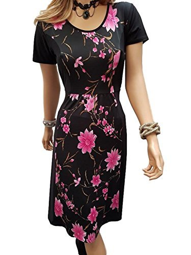 grande taille fleur floral longueur genou Robe tissu facile d'entretien 12-26 UK Rose