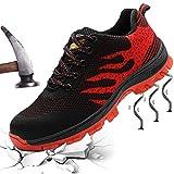 XIAO LONG Damen Herren Sicherheitsschuhe Arbeitsschuhe Atmungsaktiv Stahlkappe Schutzschuhe Traillaufschuhe für Sommer,Rot,43